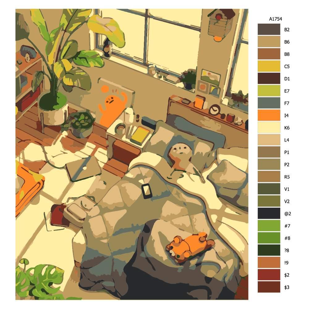 Návod pro malování podle čísel Odpolední odpočinek