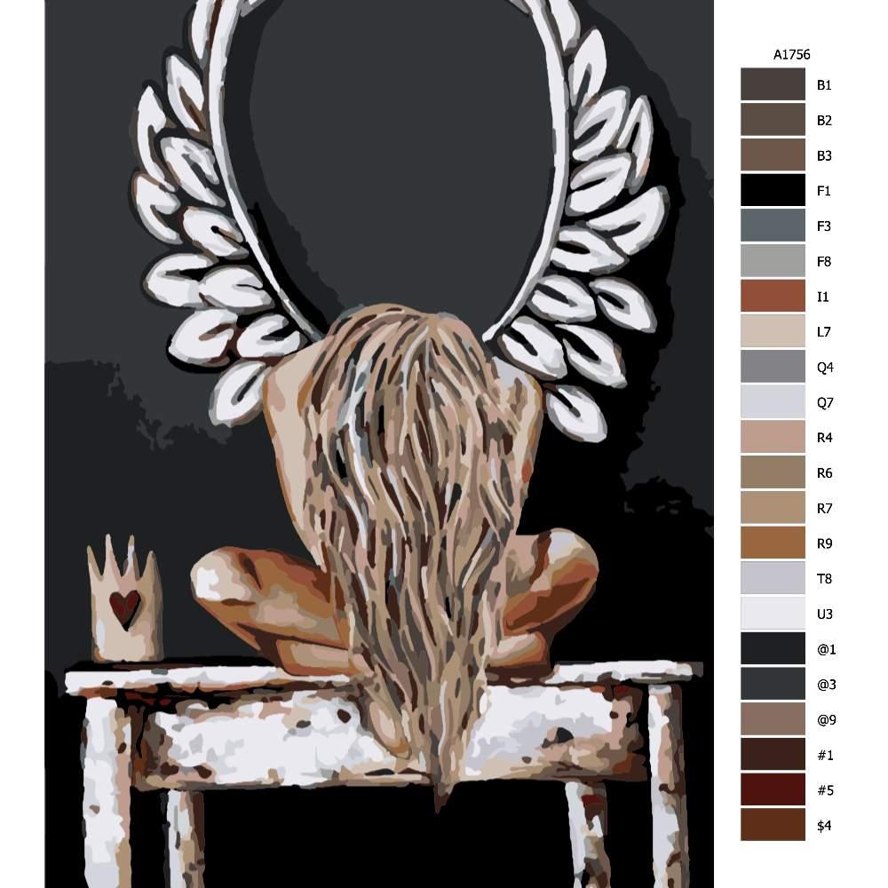 Návod pro malování podle čísel Anděl v bolesti