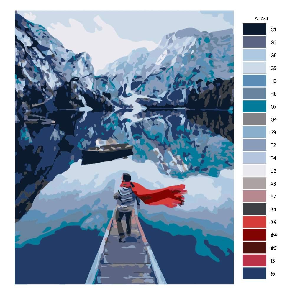 Návod pro malování podle čísel Výhled na hory s červenou šálou
