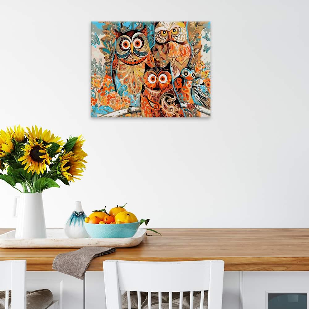 Malování podle čísel Vymalované sovy