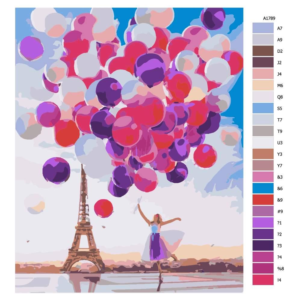 Návod pro malování podle čísel Milion balonků