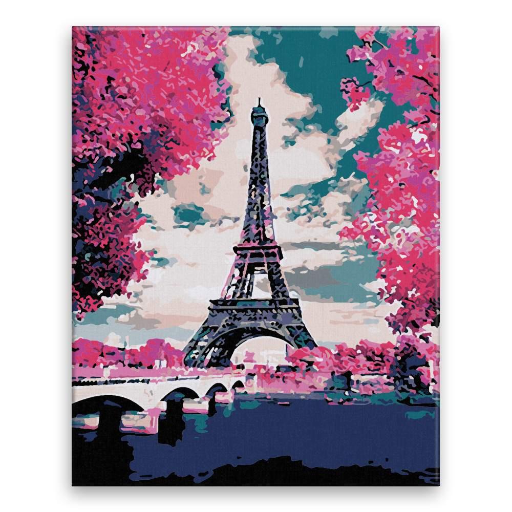 Malování podle čísel Eifelovka v růžové