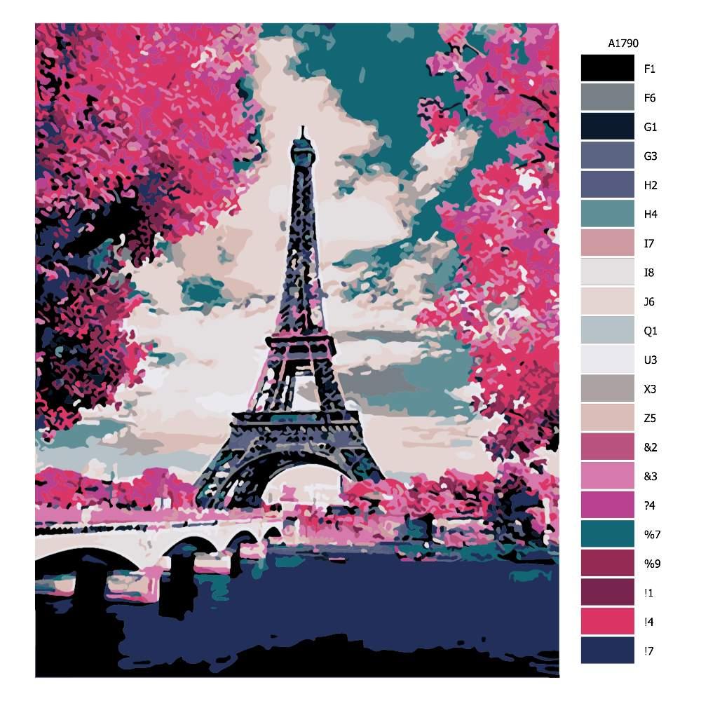 Návod pro malování podle čísel Eifelovka v růžové
