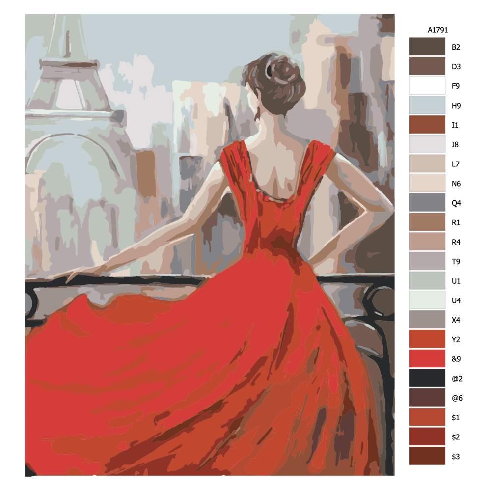 Návod pro malování podle čísel V Paříži v červených