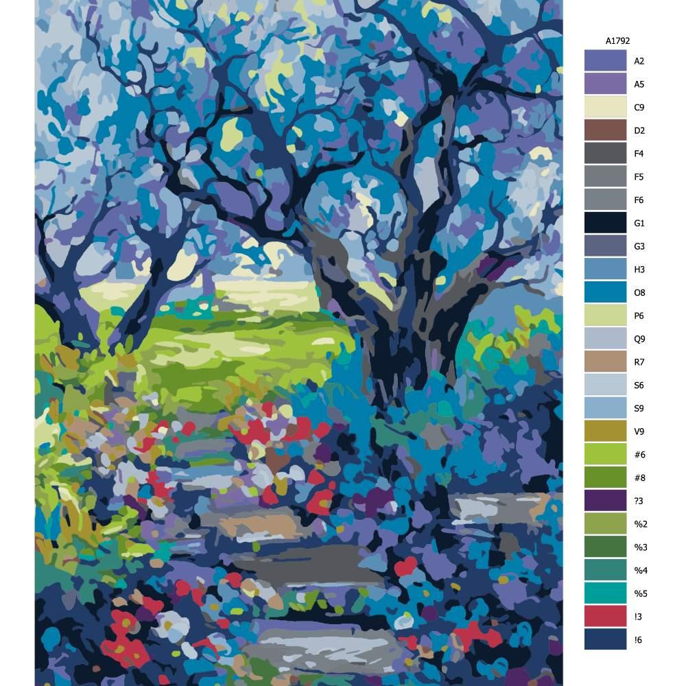 Malování podle čísel Schody v zahradě