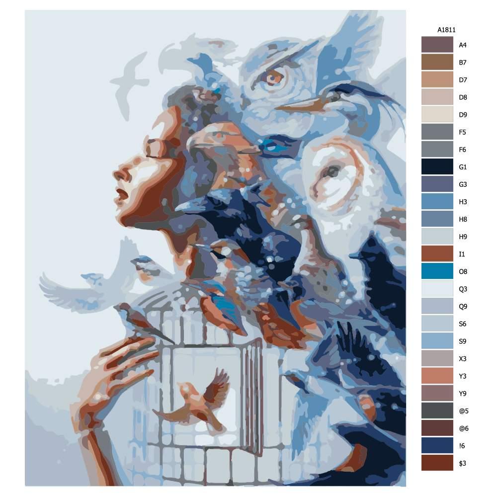 Návod pro malování podle čísel Ptačí síla