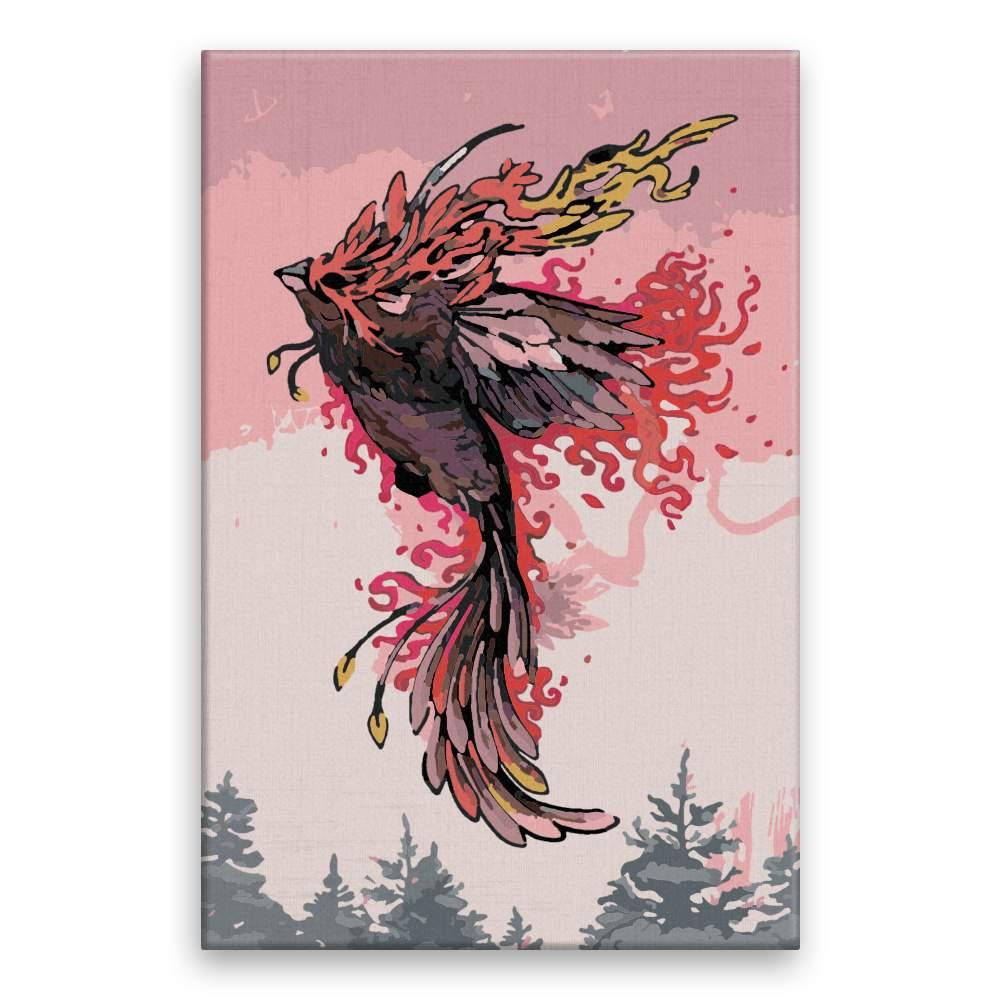 Malování podle čísel Fénix v růžové obloze
