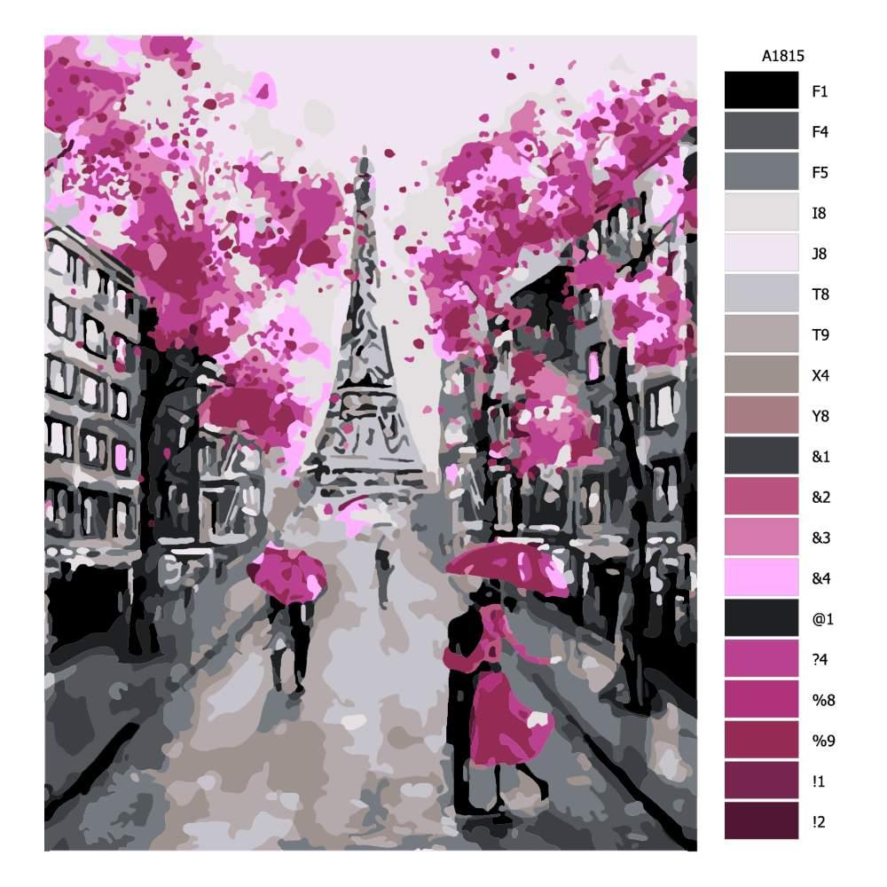 Návod pro malování podle čísel Růžová v Paříži