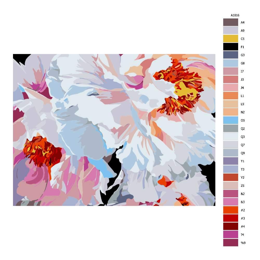 Návod pro malování podle čísel Pestrobarevné květy