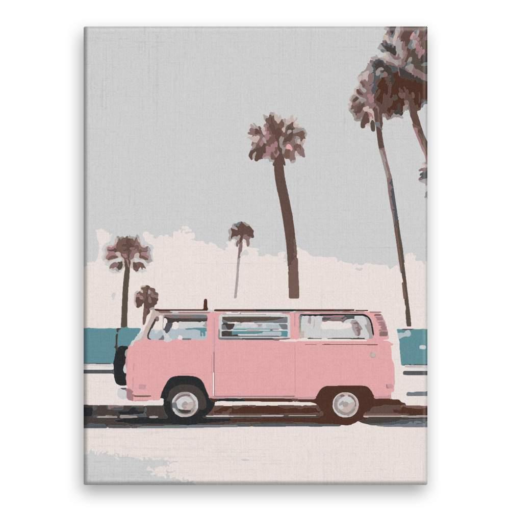 Malování podle čísel Růžový karavan