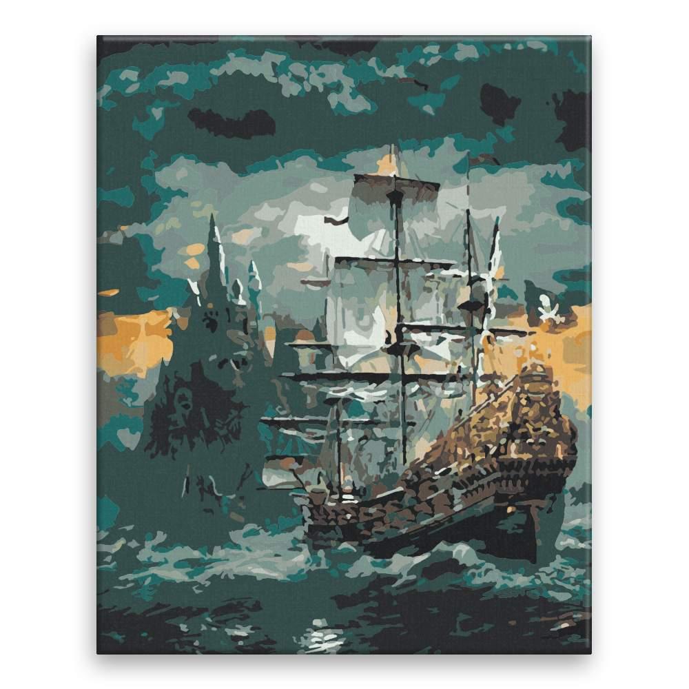 Malování podle čísel Pirátská loď v bouřce