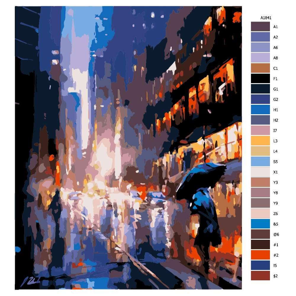 Návod pro malování podle čísel V dešti ve městě