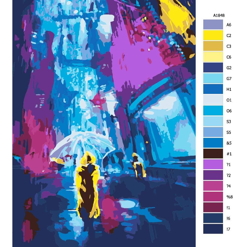 Návod pro malování podle čísel Se žlutou pláštěnkou