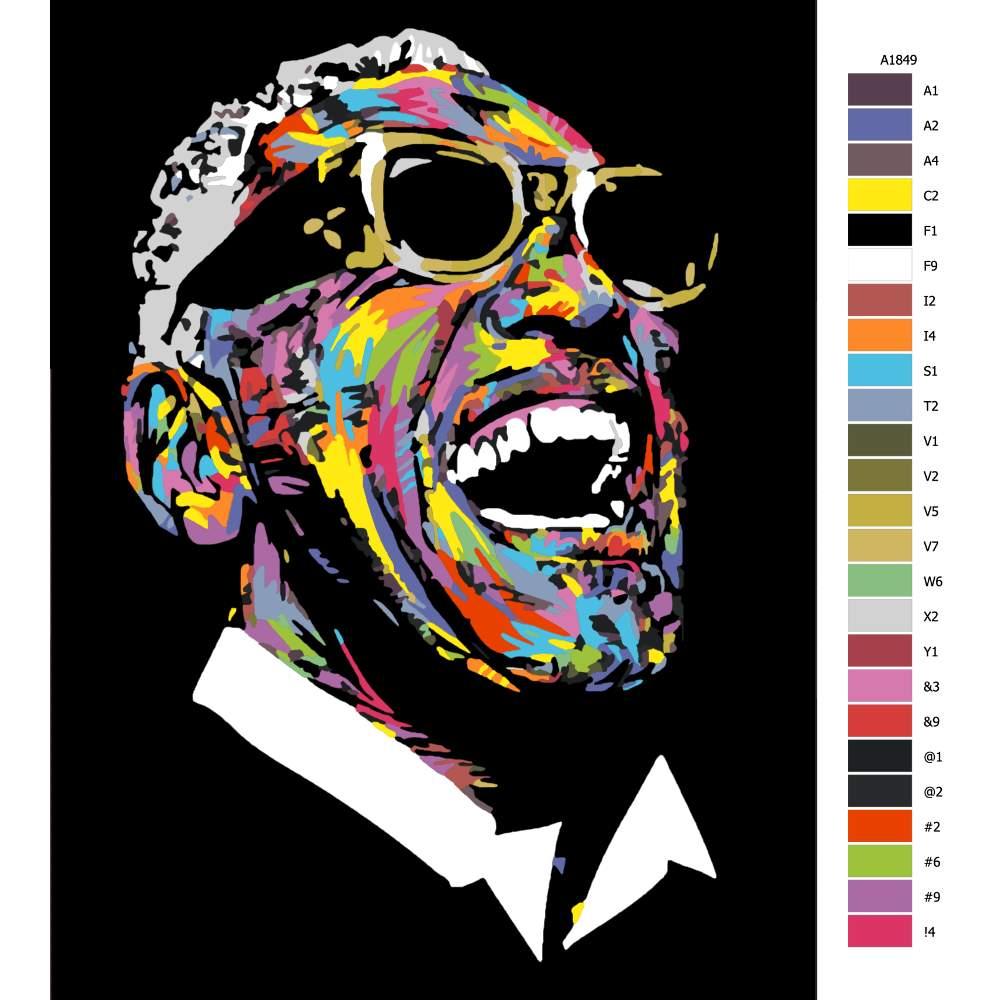 Návod pro malování podle čísel Ray Charles