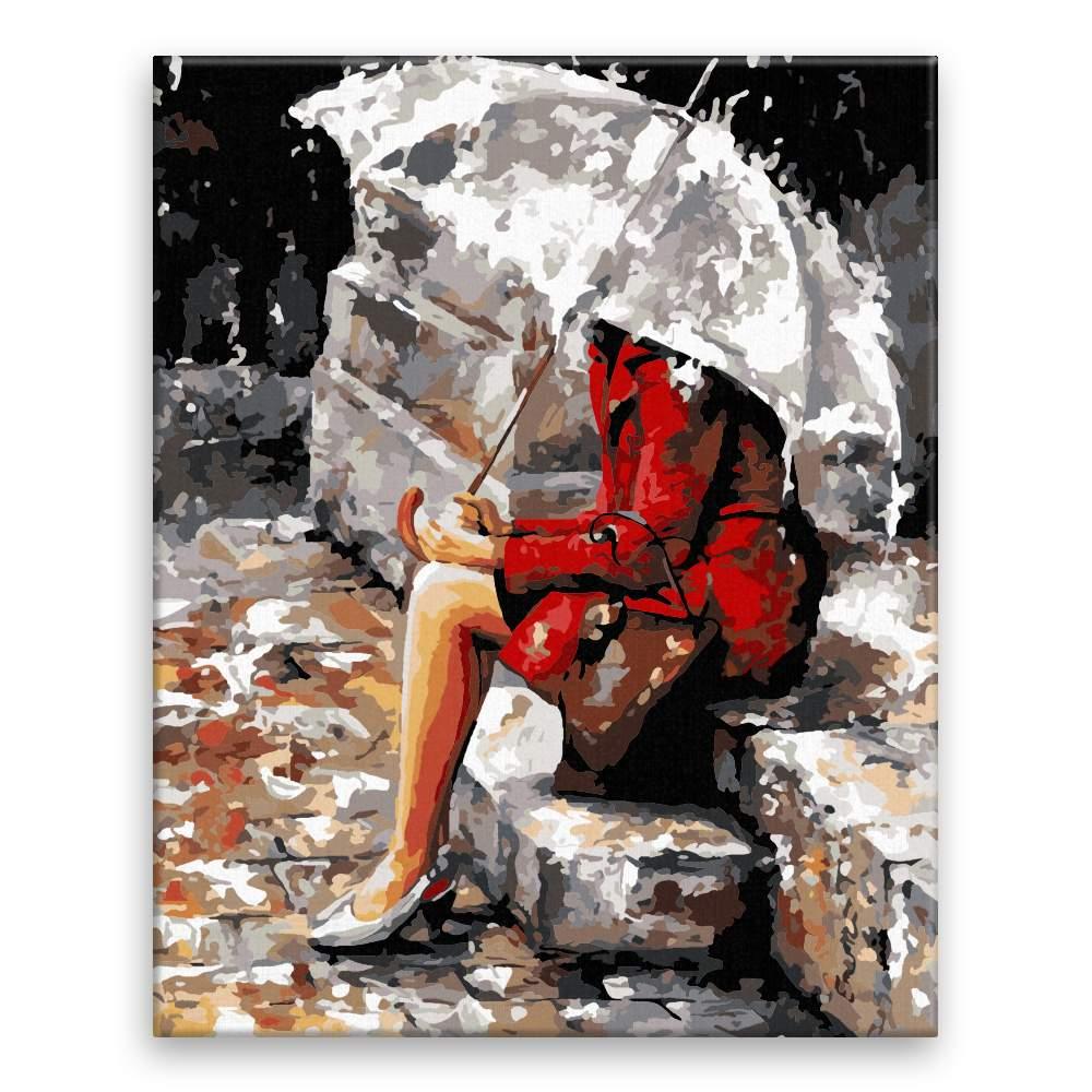 Malování podle čísel V červeném pod deštníkem
