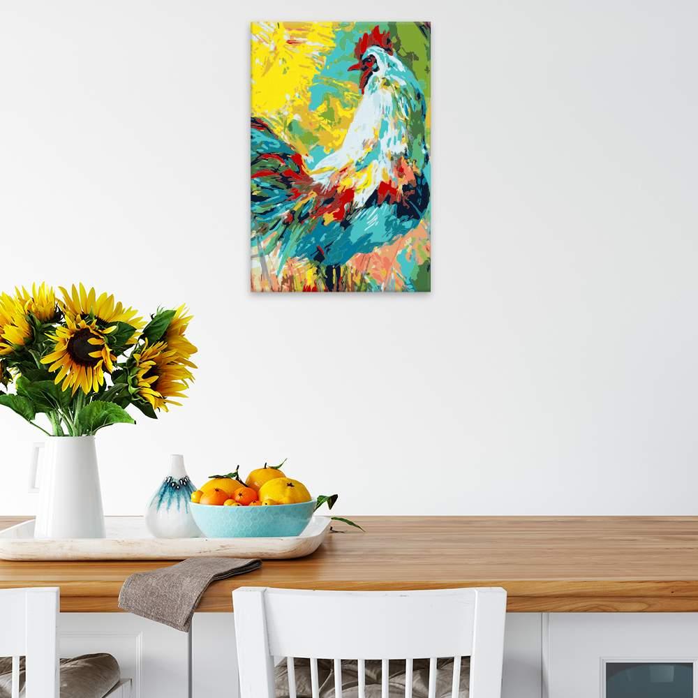Malování podle čísel Kohout při východu slunce