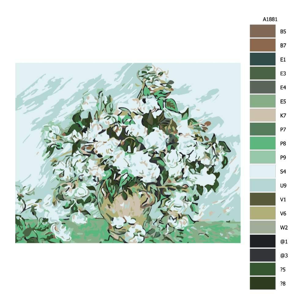 Malování podle čísel Zelobíllé květy
