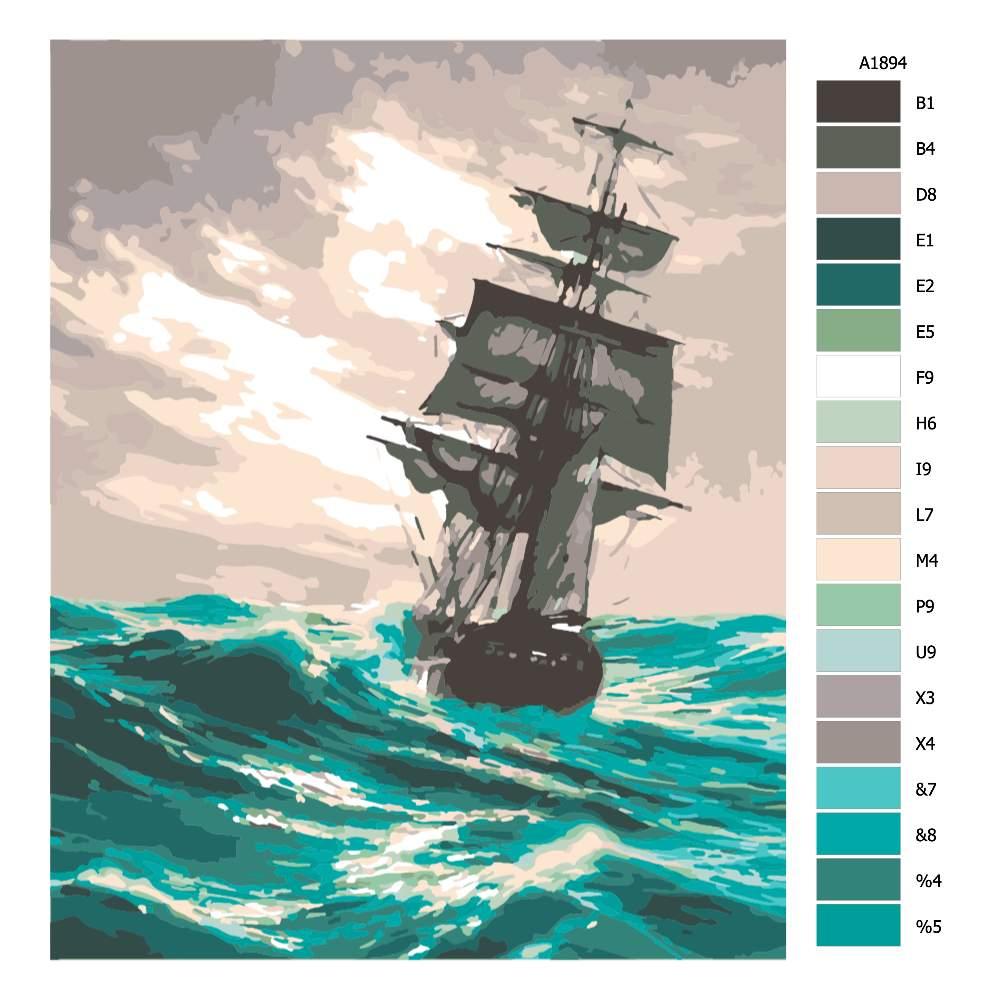 Návod pro malování podle čísel Plavba v rozbouřeném moři