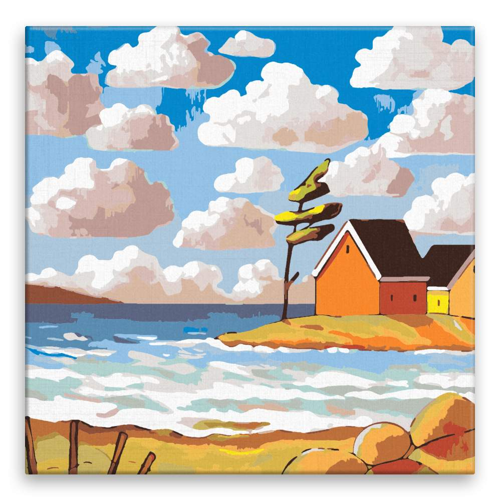 Malování podle čísel Přímořské domky