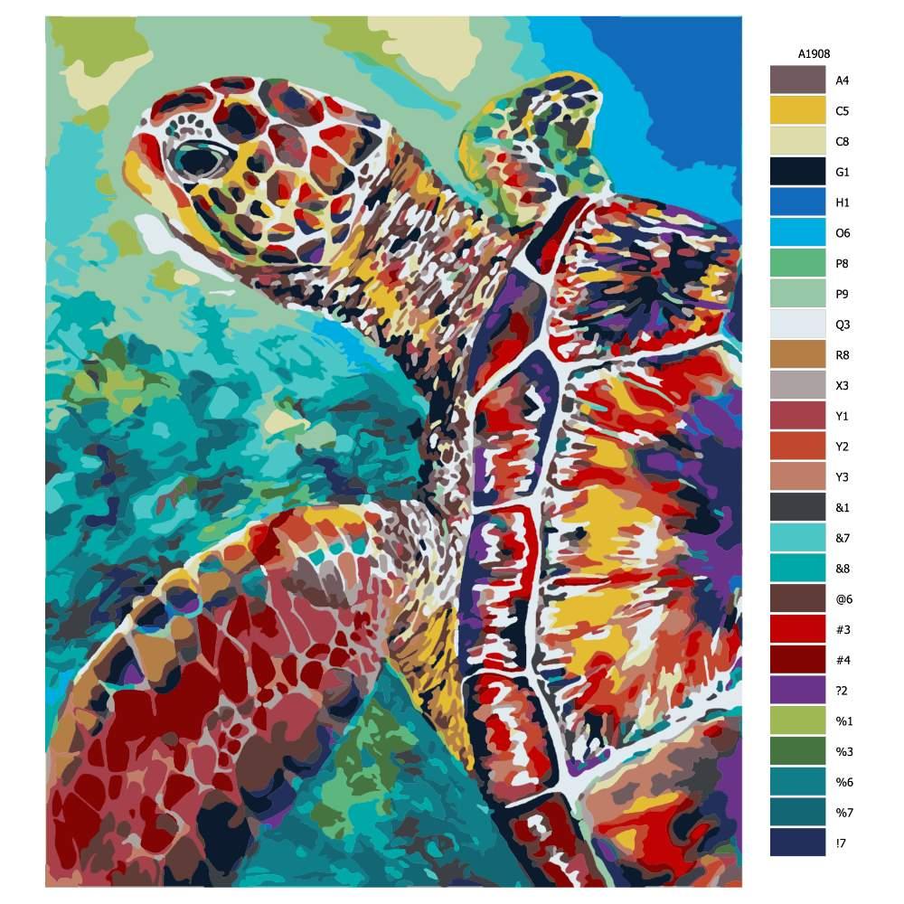 Návod pro malování podle čísel Želva v záblesku