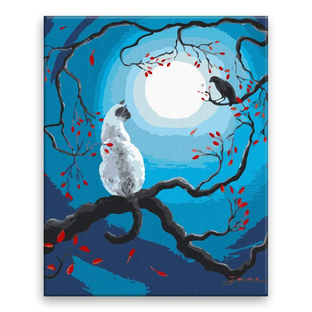 Malování podle čísel Bíla kočka a vrána při úplňku