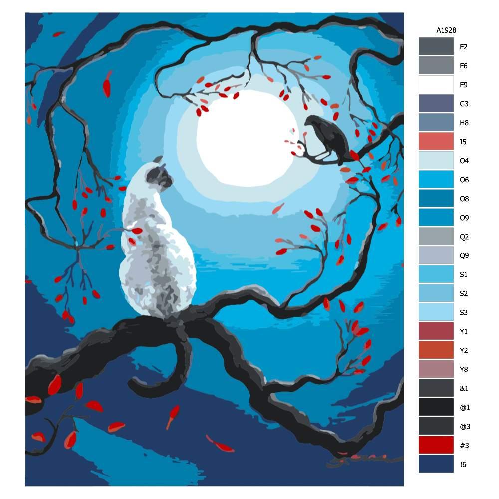 Návod pro malování podle čísel Bíla kočka a vrána při úplňku