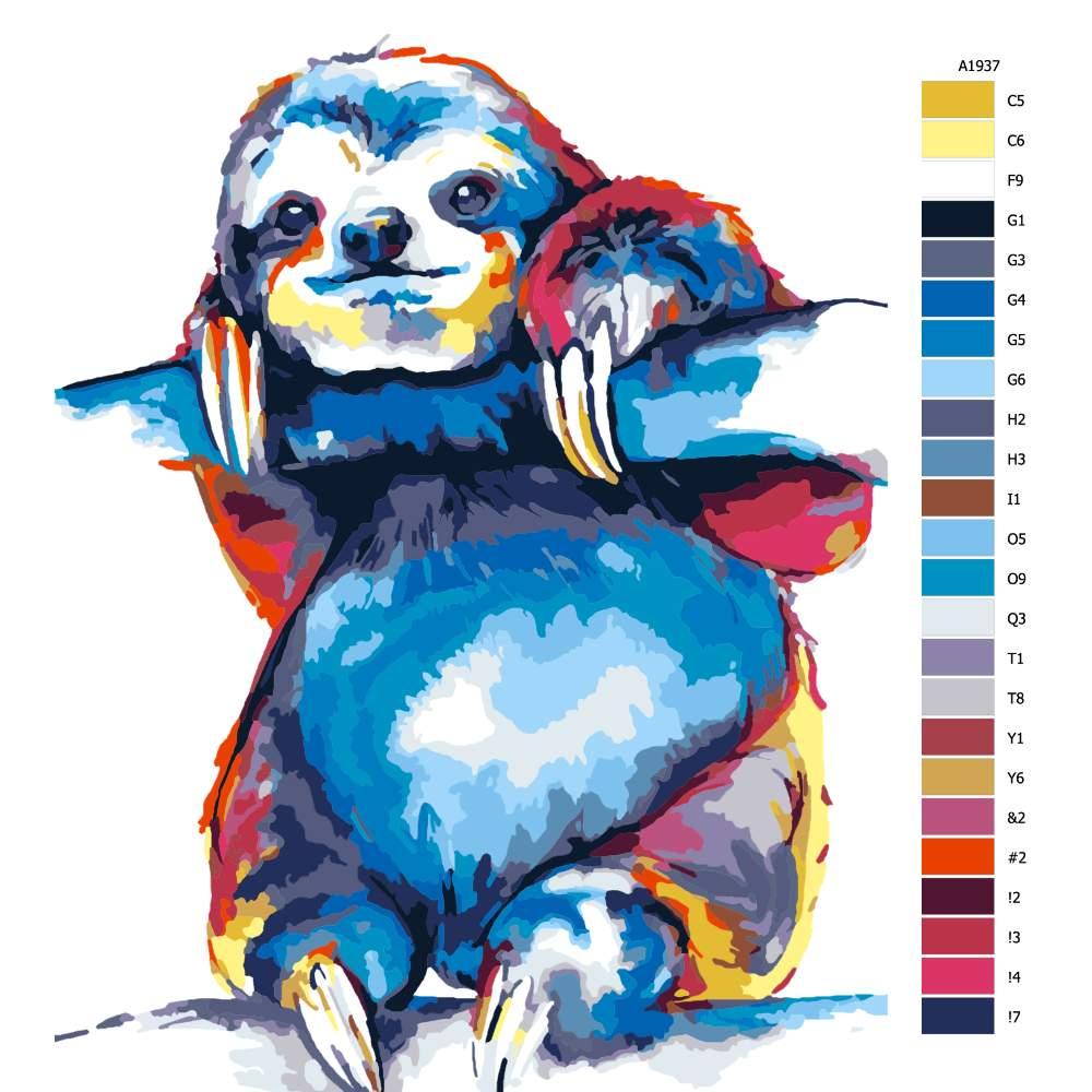 Malování podle čísel Lenochod na větvi v barvách