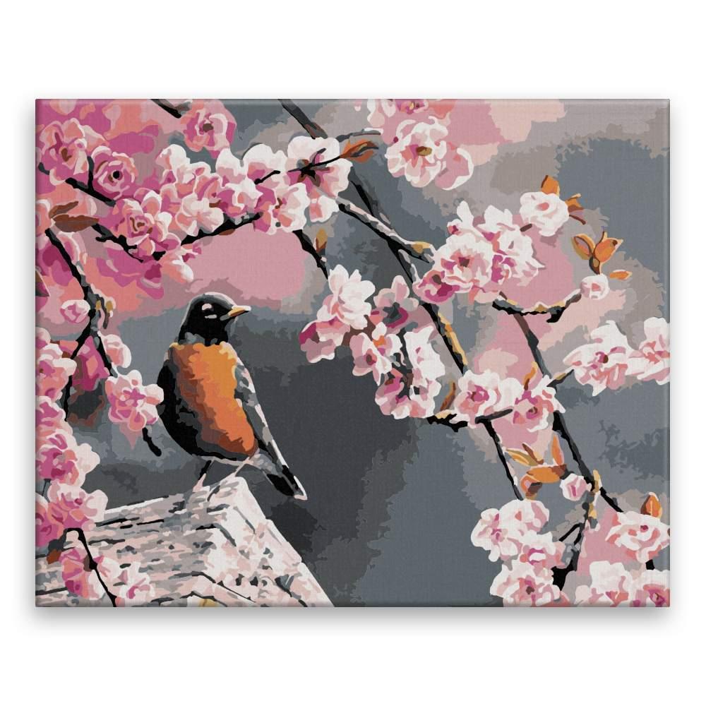Malování podle čísel Ptáček pod třešní