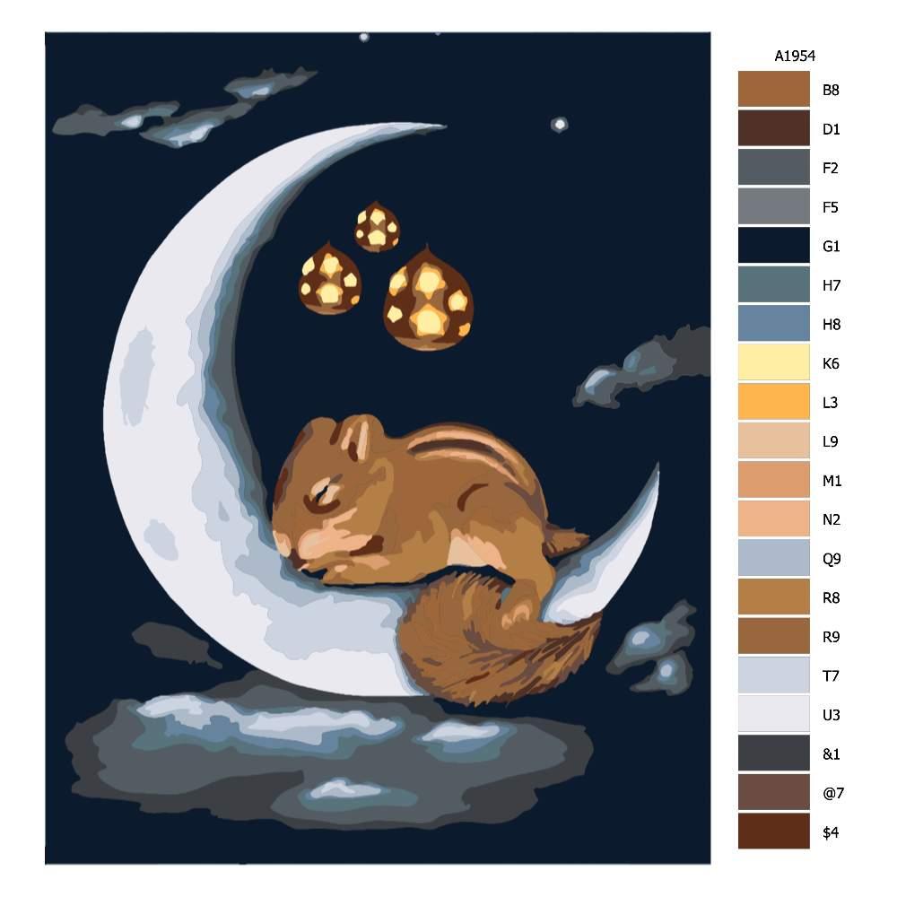 Návod pro malování podle čísel Noční veveruška na měsíčku