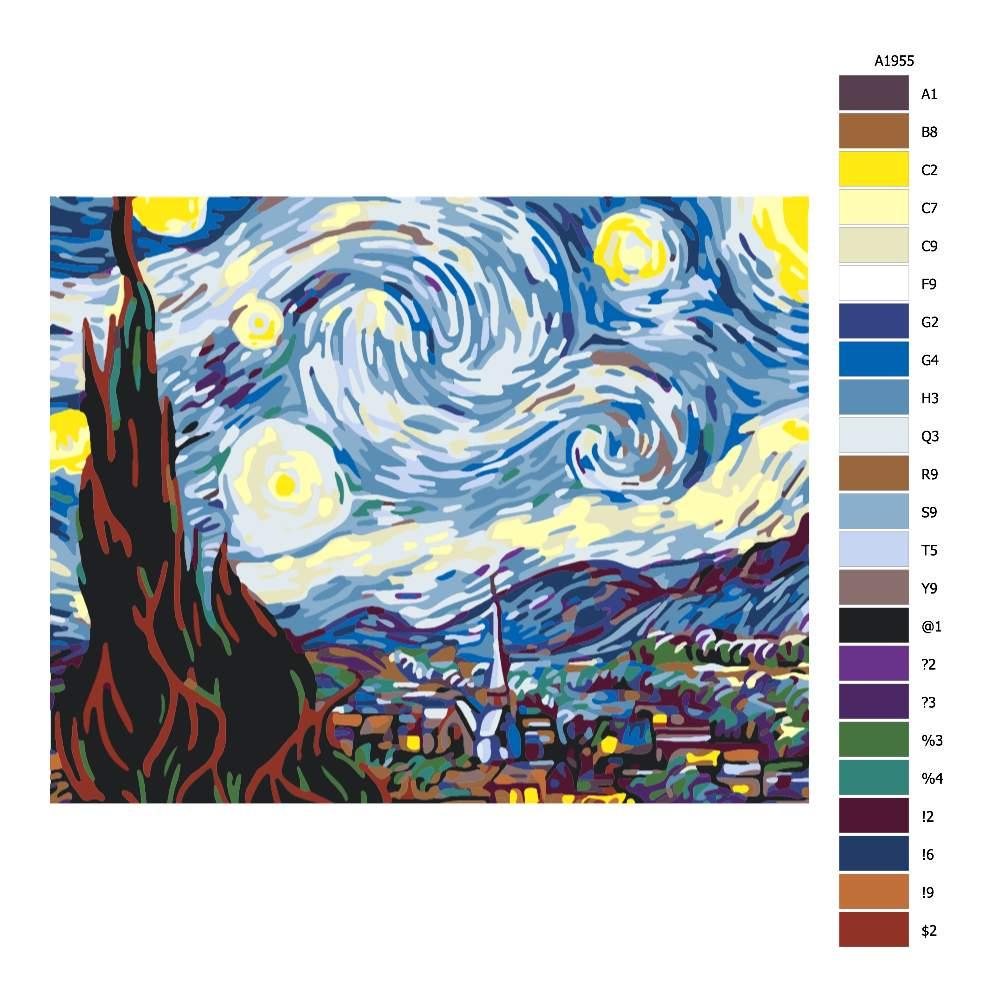 Návod pro malování podle čísel Hvězdná noc II Van Gogh