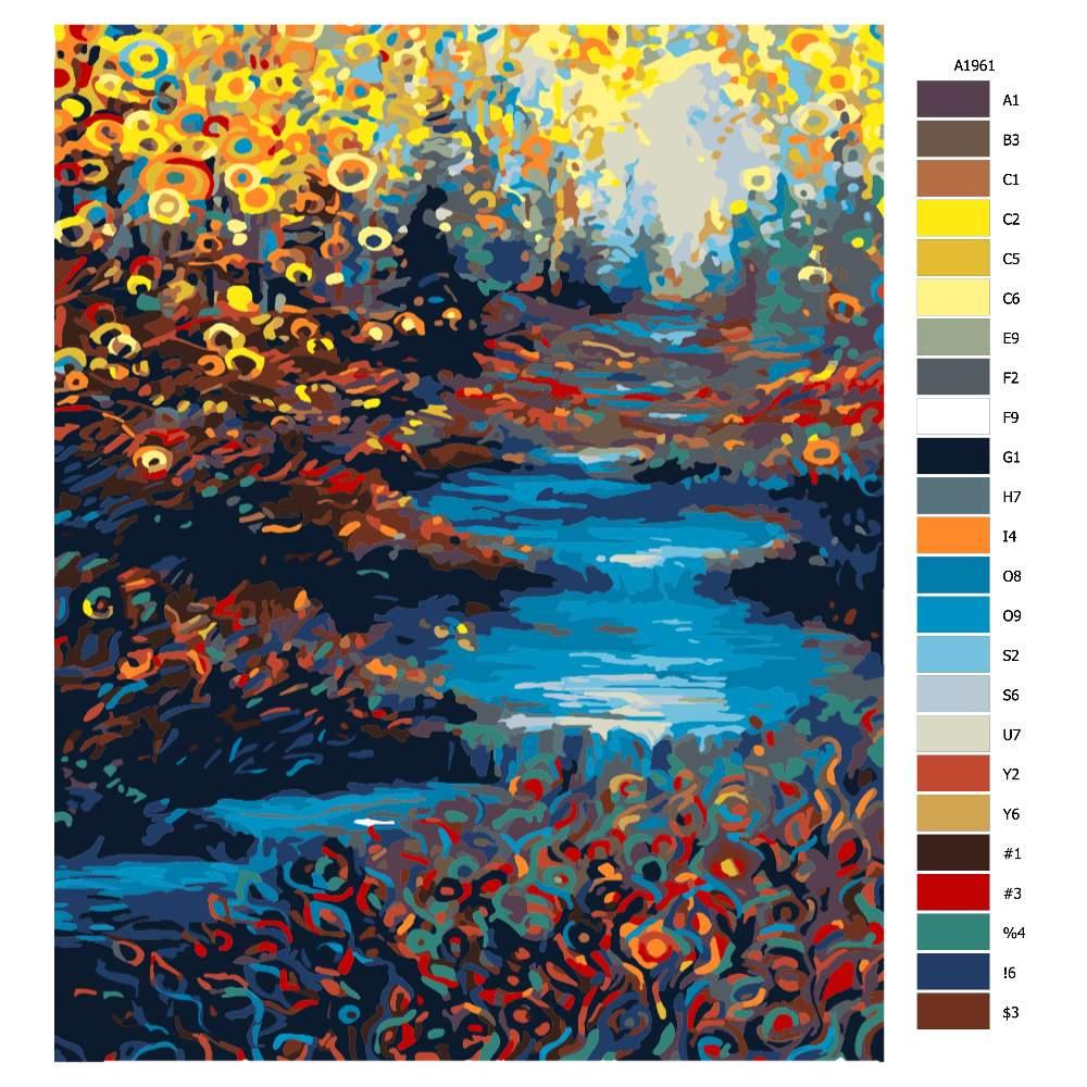 Návod pro malování podle čísel Říčka v barevném obklopení