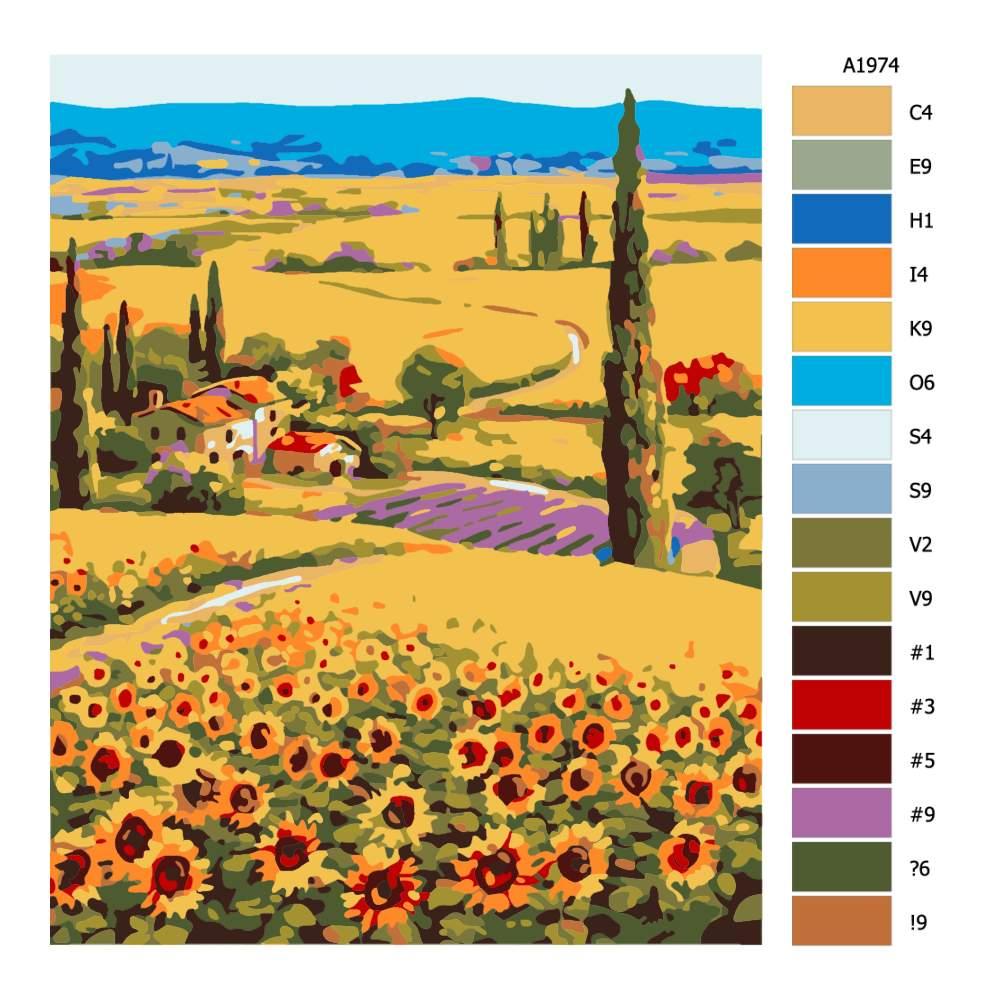 Návod pro malování podle čísel Cestička mezi slunečnicemi