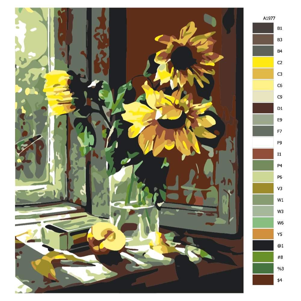Návod pro malování podle čísel Povadlé slunečnice