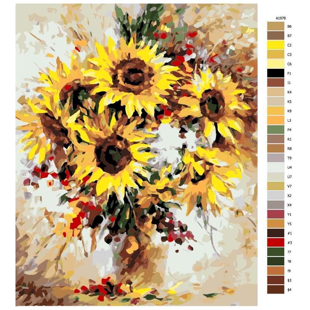 Návod pro malování podle čísel Rozzářené slunečnice