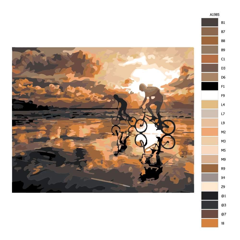 Návod pro malování podle čísel Na kolech po pláži