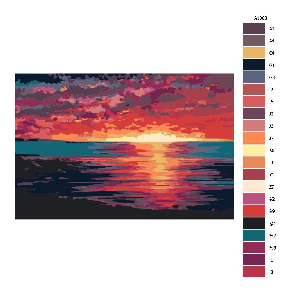 Návod pro malování podle čísel Červánky přes moře