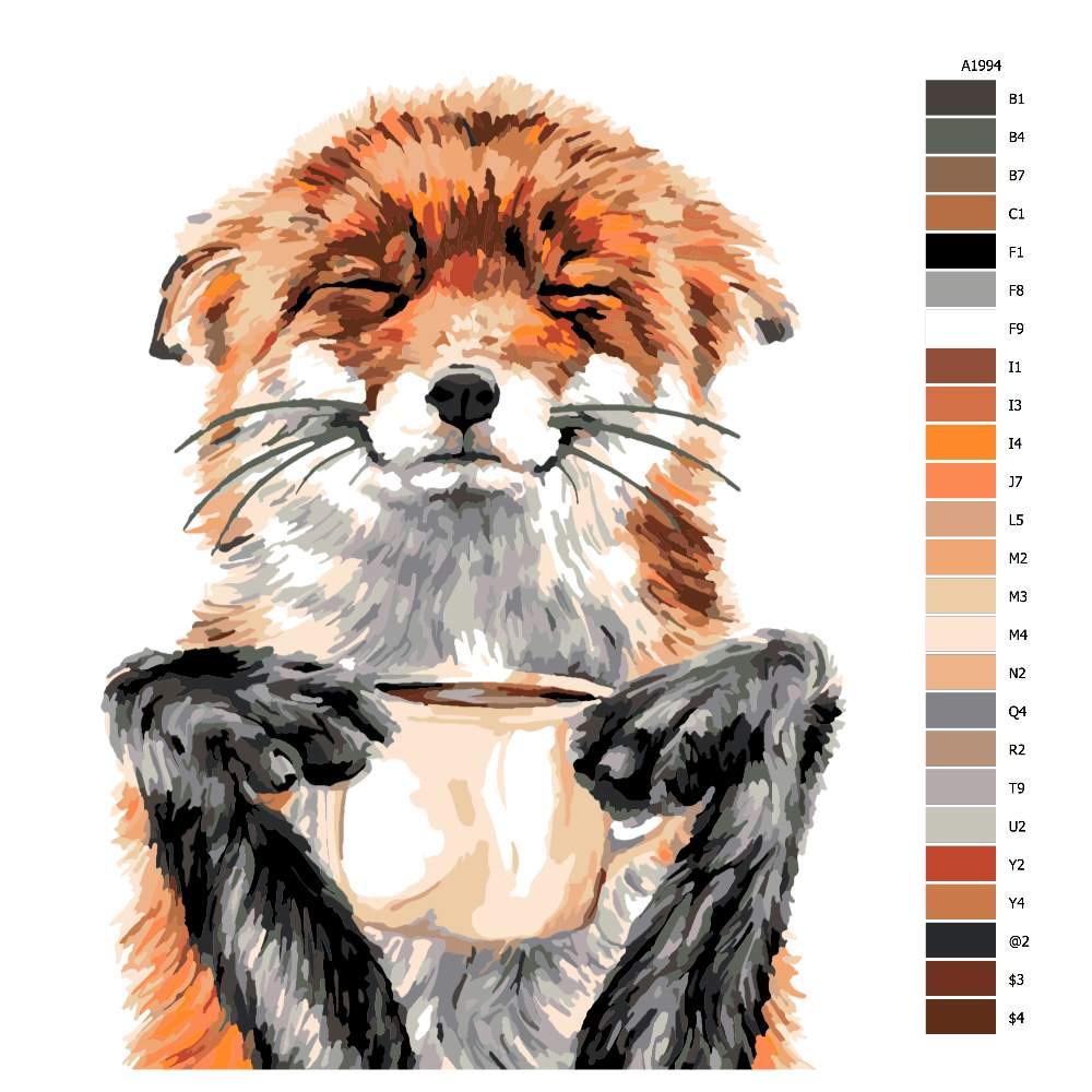 Návod pro malování podle čísel Liška s horkou čokoládou