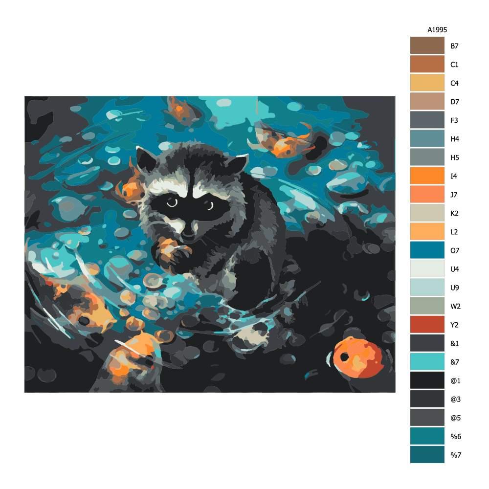 Návod pro malování podle čísel Mýval s koi rybičkami