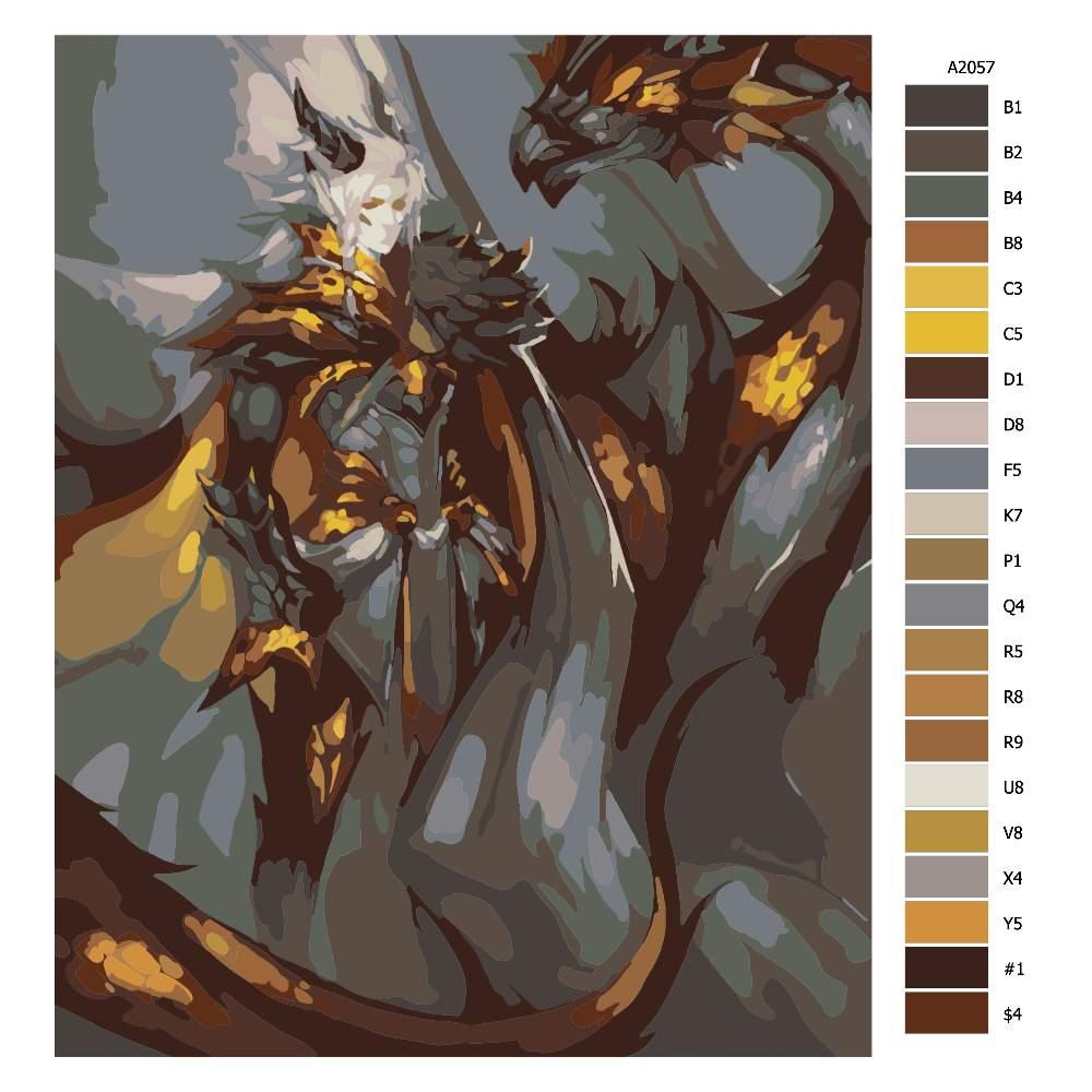 Malování podle čísel Bojovnice a drak