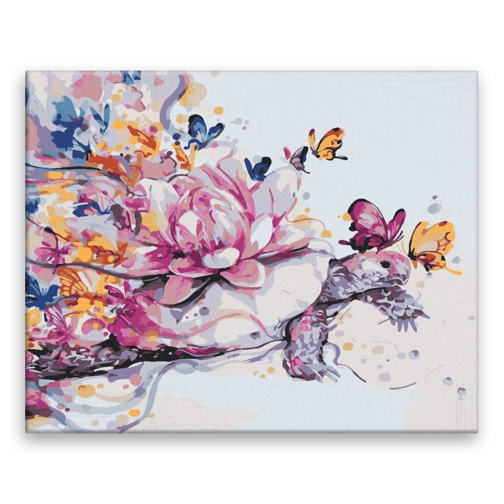 Malování podle čísel Želva v motýlým okvětí
