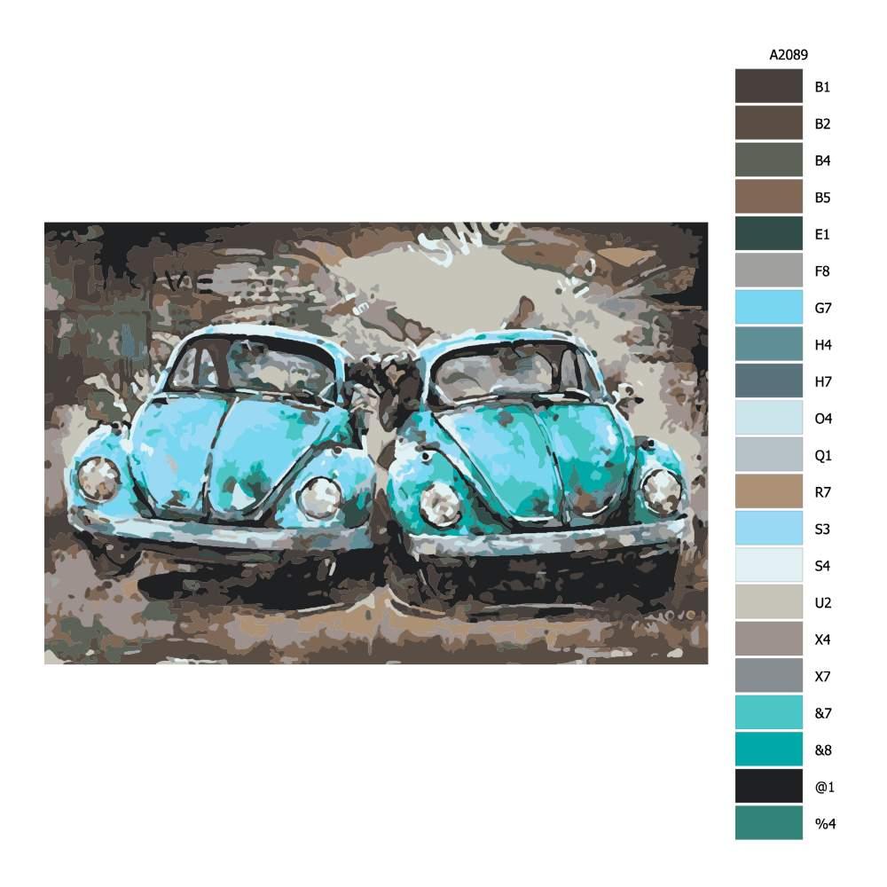 Návod pro malování podle čísel Dvě auta