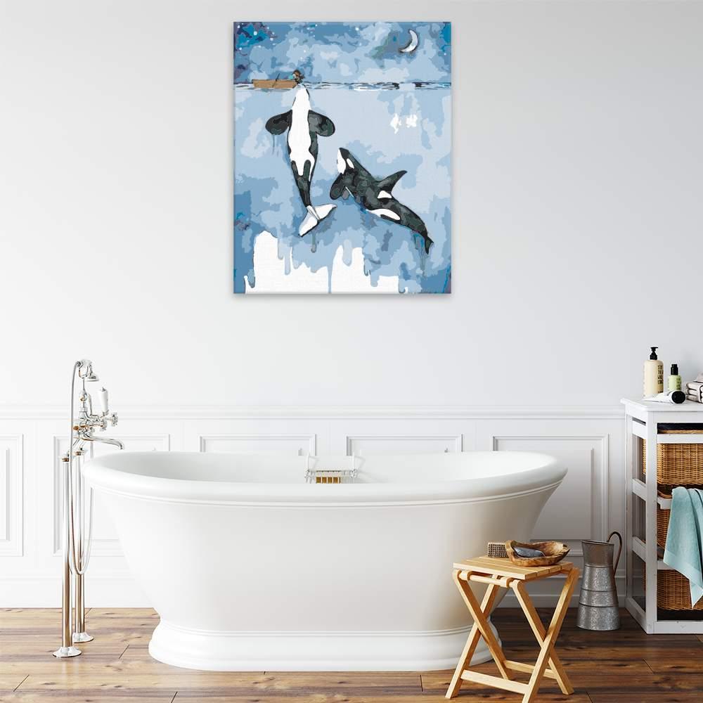 Malování podle čísel Dvě kosatky a dívka na lodi