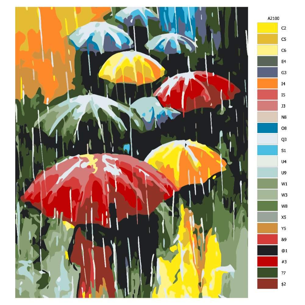 Návod pro malování podle čísel Barevné deštníky