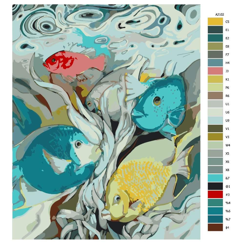 Návod pro malování podle čísel Podvodní veselí