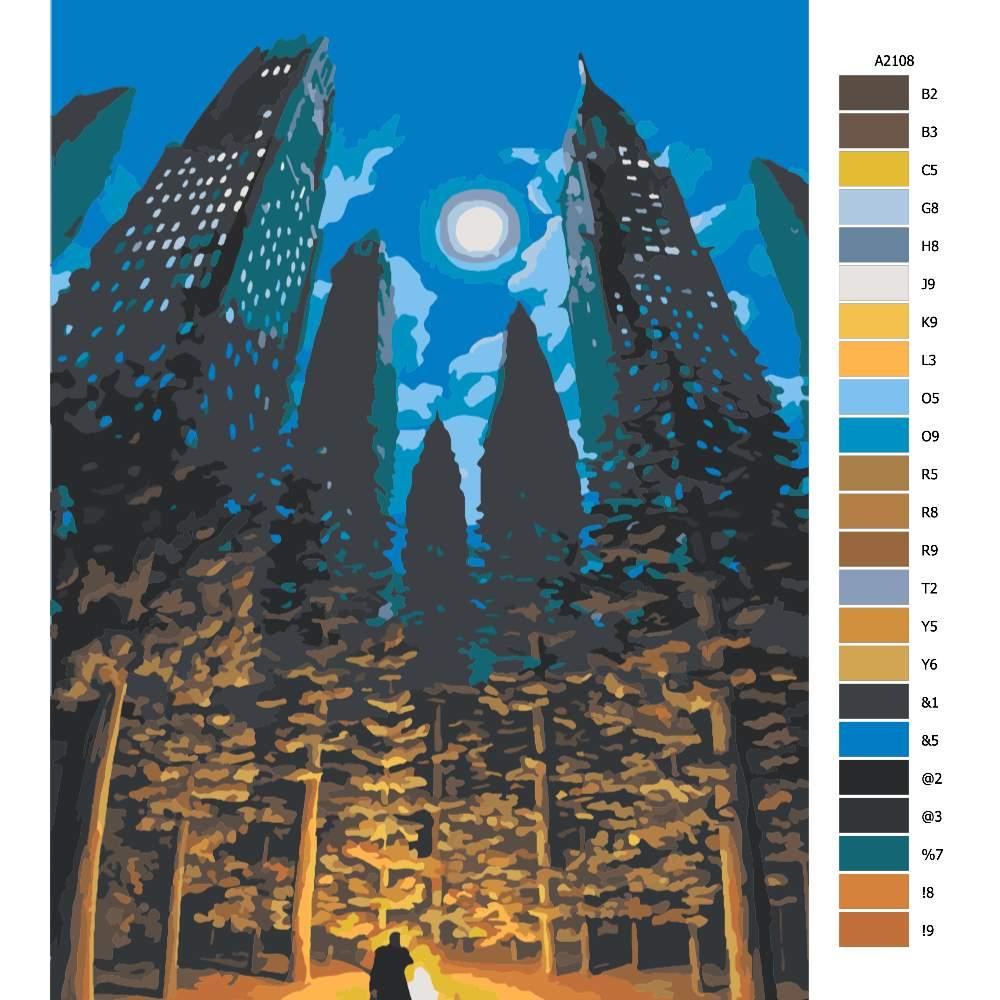 Návod pro malování podle čísel Les ve městě