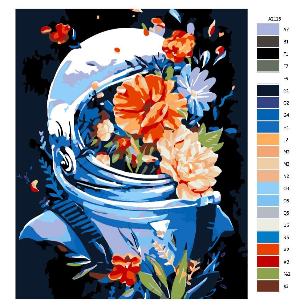 Návod pro malování podle čísel Kosmonaut plný květů