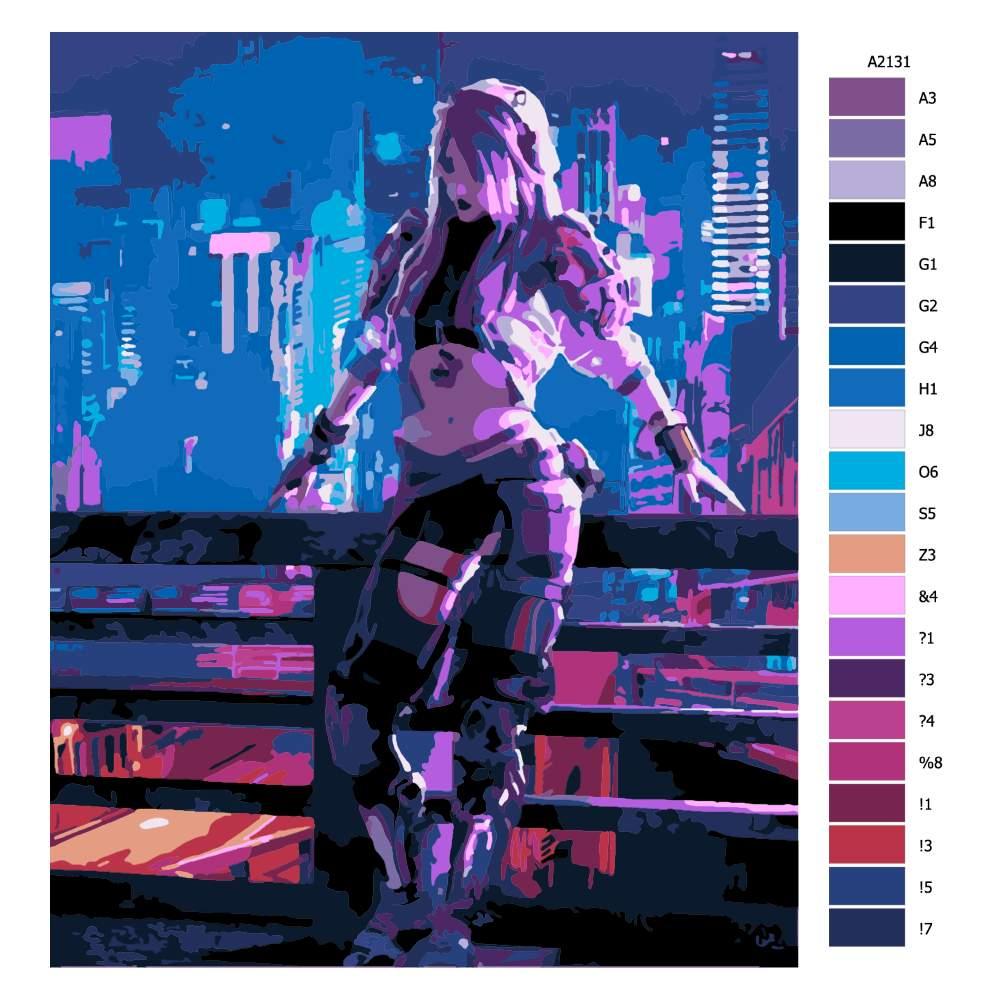 Návod pro malování podle čísel Dívka z budoucnosti