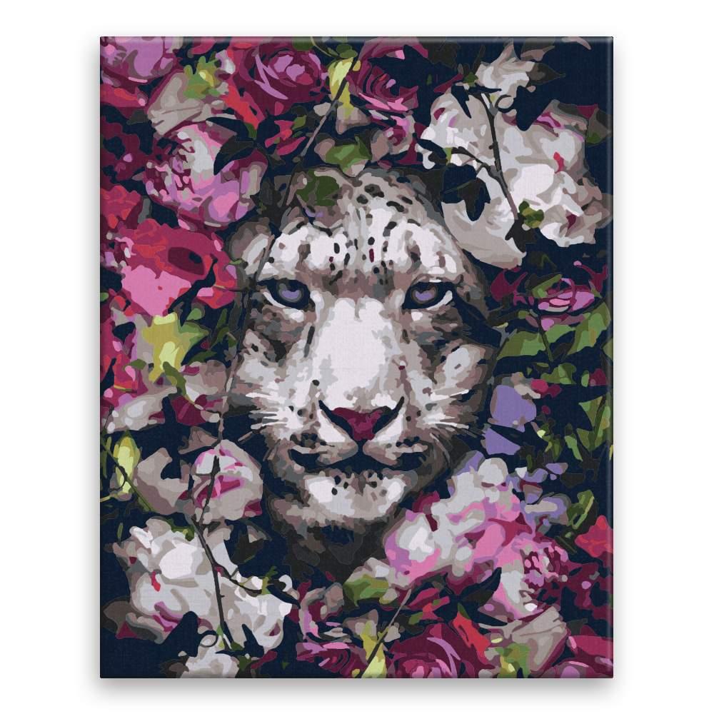 Malování podle čísel Bílý tygr v květinách