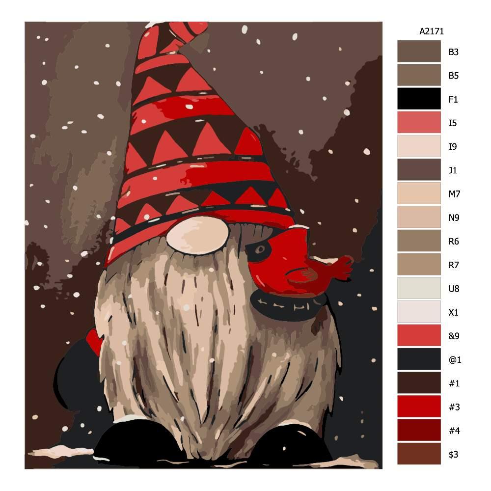 Návod pro malování podle čísel Zimní skřítek