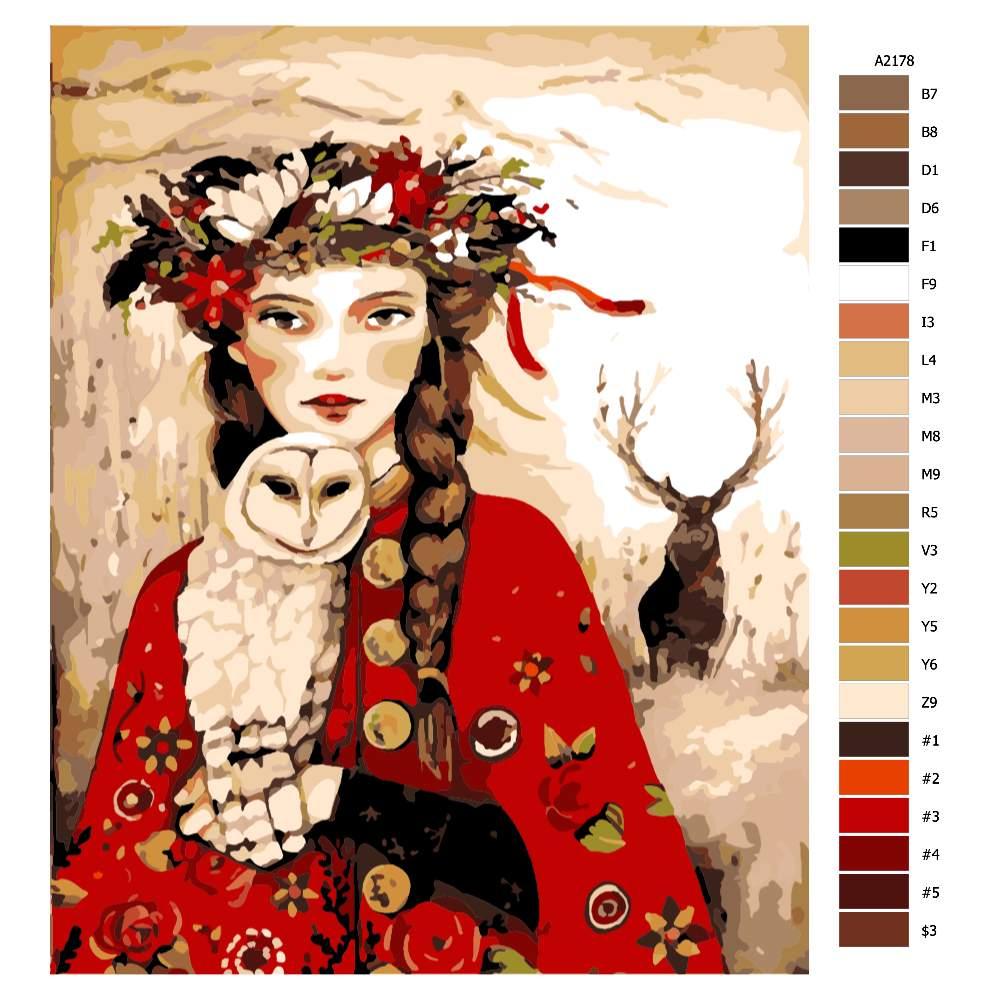 Návod pro malování podle čísel Žena sova a jelen